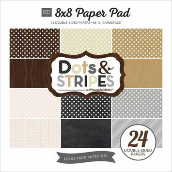 Echo Park Paper Echo Park DoubleSided Paper Pad 8inX8in 24/PkgNeutrals Dots & Stripes