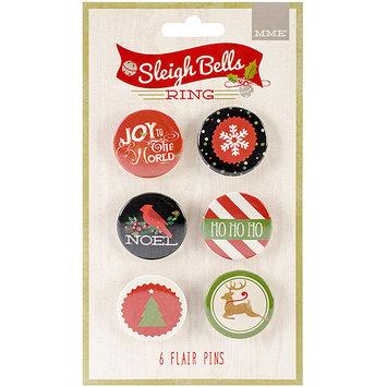 My Minds Eye Sleigh Bells Ring Flair Button Pins 6/Pkg