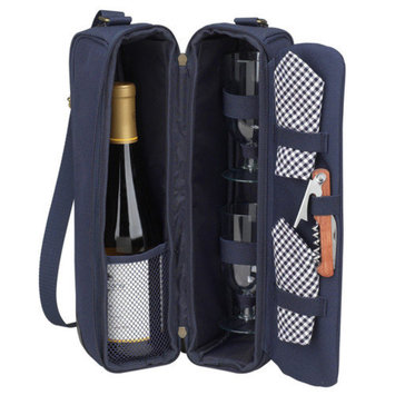 Picnic at Ascot Picnic At Ascot Classic Sunset Depinot Wine Carrier for Two in Navy