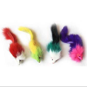 Iconic Pet 15782 Colored Long Hair Fur Mice Cat Toy- 4 Pack - Assorted