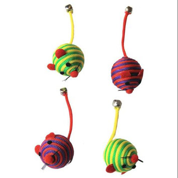 Iconic Pet 15786 Nylon Rope Fun Ball For Kittens And Cats - 4 Pack - 2 In Red And 2 In Green