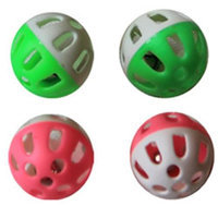 Iconic Pet 15791 Two-Tone Plastic Ball With Bell Cat Toy- 4 Pack - Assorted