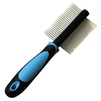 Iconic Pet 15828 Double Sided Pin Comb For Dog And Cat Stainless Steel Pins - Blue