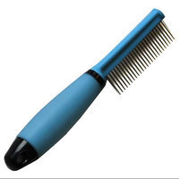 Iconic Pet 15848 Single Sided Pin Comb For Dog And Cat With Silica Gel Soft Handle Blue