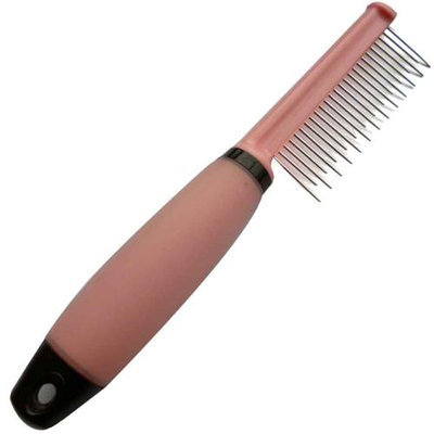 Iconic Pet 15849 Single Sided Pin Comb For Dog And Cat With Silica Gel Soft Handle Skip Tooth Pink