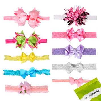 Bundle Monster 10 pc Baby Girls Bow Ribbon Elastic Fabric Lace Headbands - Set 1