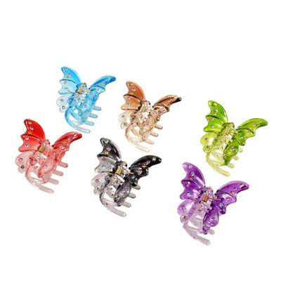Unique-bargains 6 Pcs DIY Hairstyle Butterfly Shape Assorted Color Plastic Hair Claw Clip Clamp for Woman