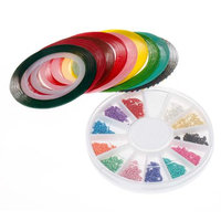 Bundle Monster BMC Mix Neon Color Nail Chains Striping Tape Nail Polish Art Accessory Set
