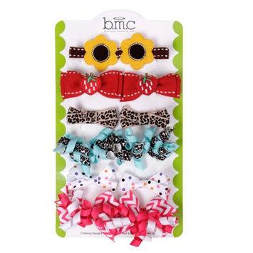 Bundle Monster Baby Girl 12 pc Soft Ribbon Design Hair Clip Accessories - Set 1