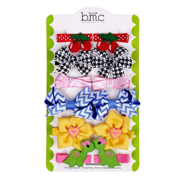 Bundle Monster Baby Girl 12 pc Soft Ribbon Design Hair Clip Accessories - Set 3