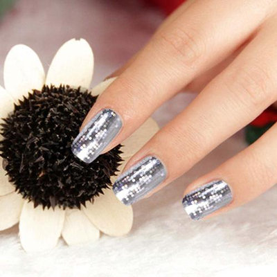 Bundle Monster BMC 24pc Holographic Silver Circle Checker Foil Design Nail Art Sticker Strips