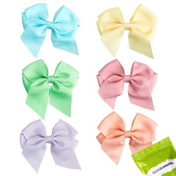 Bundle Monster 6 pc Baby Girls Soft Ribbon Bow Hair Clip Set - Perfectly Pastel
