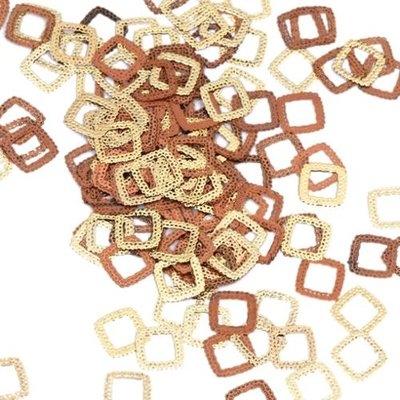 Bundle Monster BMC 120pc Flexible Gold Metal Lace Square Cut Out Nail Art Decorative Confetti