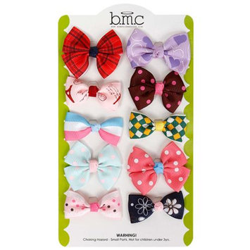 Bundle Monster 10 pc Baby Girls Bow Ribbon Elastic Band Hair Tie Accessories
