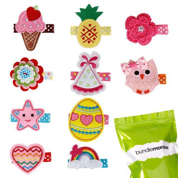 Bundle Monster 10 pc Baby Girls Embroidered Design Hair Clip Accessories - Set 1