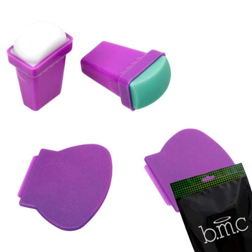 Bundle Monster BMC 4pc Silicone and Rubber Stamper Plastic Scraper Nail Art Stamping Tools Set