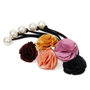 Bundle Monster BMC 5pc Mix Color Satin Fabric Gathered Flower Design Fashion Ponytail Hair Ties