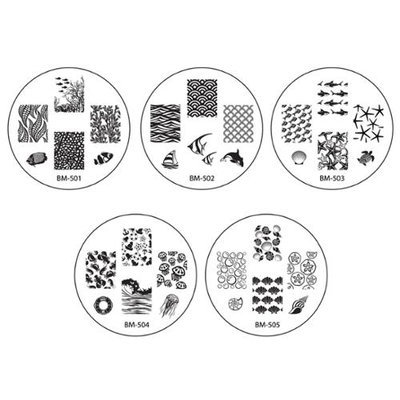 Bundle Monster 10pc Nail Art Stamping Image Plates - 2014 Sun Kissed Collection