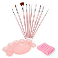 Bundle Monster BMC 12 pc Nail Art Design Brush Dotting Tool Palette Dish Holder Manicure Set