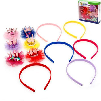 Bundle Monster 12pc Gliiter Lace Crown Hair Clips With Matching Color Headbands