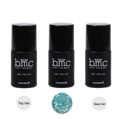 Bundle Monster BMC 3pc Blue Color Gel Nail Glitter Lacquer w/ Top Base Coat - Woodland Fantasy
