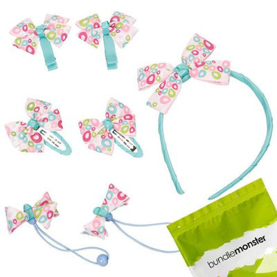 Bundle Monster 7pc Bow Ribbon Baby Girl Headband Hair Ties Barrettes Set - Teal