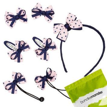 Bundle Monster 7pc Bow Ribbon Baby Girl Headband Hair Ties Barrettes Set - Navy