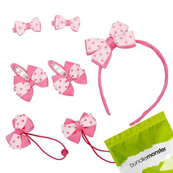 Bundle Monster 7pc Bow Ribbon Baby Girl Headband Hair Ties Barrettes Set - Pinks