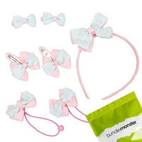 Bundle Monster 7pc Bow Ribbon Headband Hair Ties Barrettes Set - Gray Light Pink