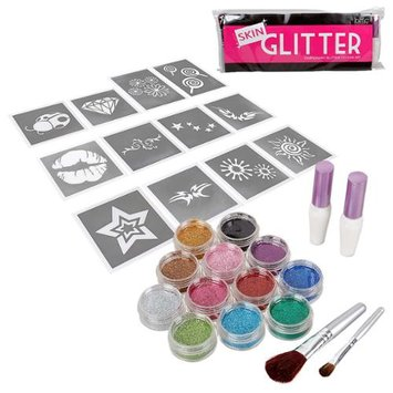 Bundle Monster BMC Girl Fun Temporary Fashionable Glitter Tattoo Body Art Design Stencils Kit