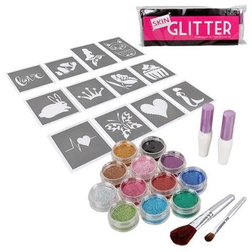 Bundle Monster BMC Nature Fun Temporary Fashionable Glitter Tattoo Body Art Design Stencils Kit