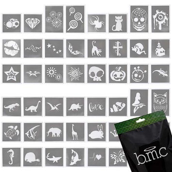 Bundle Monster BMC Cool 48pc Mixed Sizes and Themes Temporary Tattoo Adhesive Stencil Set