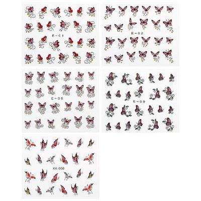 Bundle Monster BMC Red Pink Purple Colored Glitter Butterfly Nail Art Stickers - 5 Sheet Set