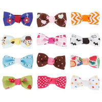 Bundle Monster 12 Indivdual Design Baby Girl Grosgrain Bow Hair Clips-Set 3