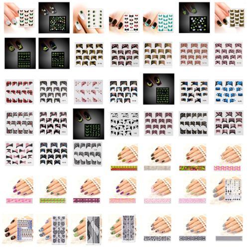 Bundle Monster BMC Mystery Surprise 10 Sheet Mix Design Nail Art Stickers Water Transfer Strips Kit