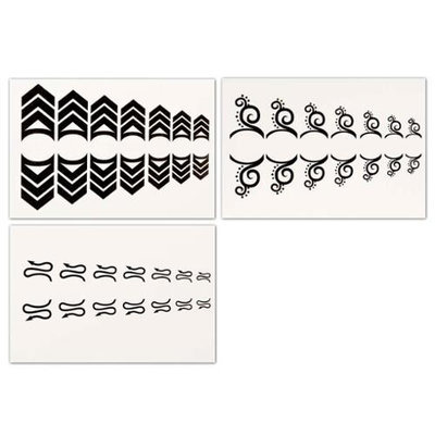Bundle Monster BMC Cute Swirly 3pc Mixed Design Water Transfer Cuticle Tattoo Nail Art Stickers