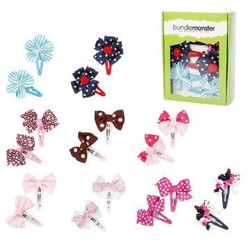 Bundle Monster 9 Pair Grosgrain Ribbon Flowers Bows Girls Hair Barrettes - Set 2