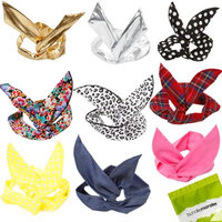 Bundle Monster 9pc Girls Assorted Fashion Rabbit Ear Wired Hair Tie Scarf Wrap