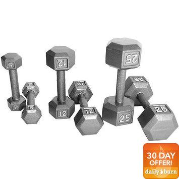 Tone Fitness CAP Barbell 45 lb Grey Cast Iron Hex Dumbbell
