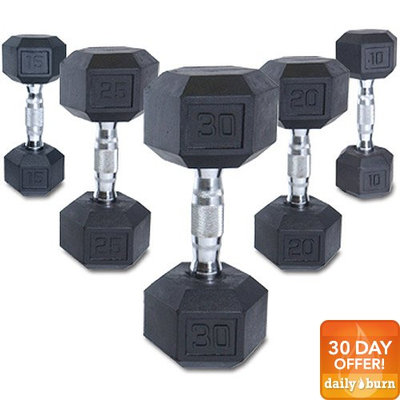Cap Barbell SDR-020 CAP 20 lb Rubber Coated Hex Dumbbell with Contoured Chrome Handle