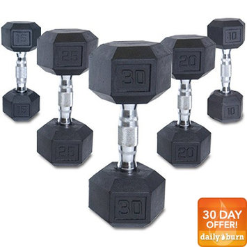 Omega CAP 100 lb Rubber Coated Hex Dumbbell with Contoured Chrome Handle