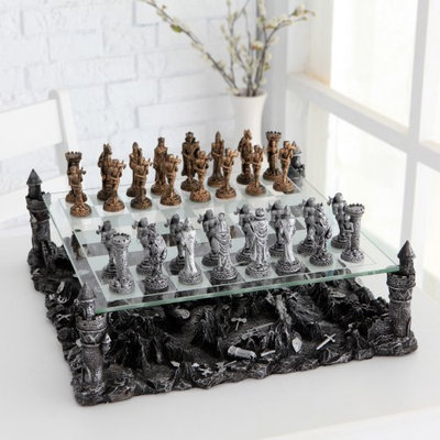 Chh Quality Product Inc CHH 3D Knight Pewter Chess Set