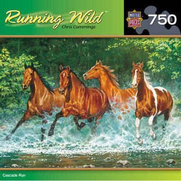 Masterpeice Puzzle 61116 18 x 24 Puzzles Running Horses / Mustang Cascade Run - 750 Piece