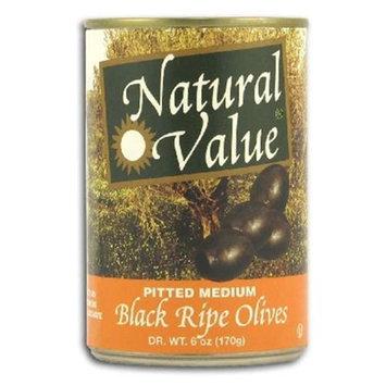 Natural Value BG16225 Natural Value Med Pittd Black Olives - 24x6OZ