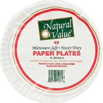 Natural Value Paper Plates 9 Inch - 40 Pieces