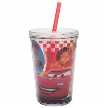 Zak Designs Disney Pixar's Cars Double-Wall Tumbler Cup with Straw - 13 oz