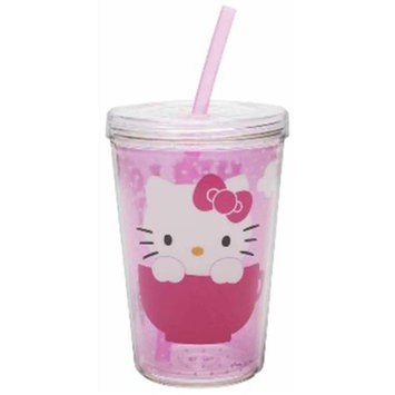 Zak Designs Hello Kitty Double-Wall Tumbler Cup with Straw -13 oz