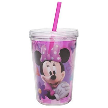 Zak Designs Minnie Mouse Double-Wall Tumbler Cup with Straw - 13 oz