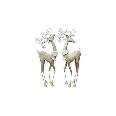 Holiday Time 2pc Fanicful Metallic Deer Set with Faux Fur Collar