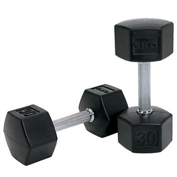 TKO 65 lb. SDS Rubber Hex Dumbbell